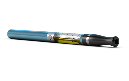 vaporizer: ecigarette over white with yellow e-liquid inside the container, blue tone