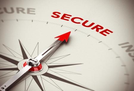 bussola: Concetto di consulenza sulla sicurezza, Compass ago rivolto la parola toni sicuri, rosso e marrone con effetto di sfocatura