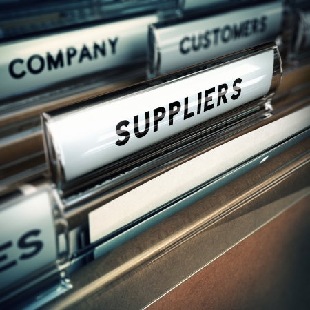 Focus on a folder tab where it is written the word suppliers, 3D render, blur effect  Stock Photo