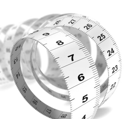 weight control: Close up of a plastic tape measure over white background, decorative design element for bottom left angle of a page  Dieting concept  Stock Photo