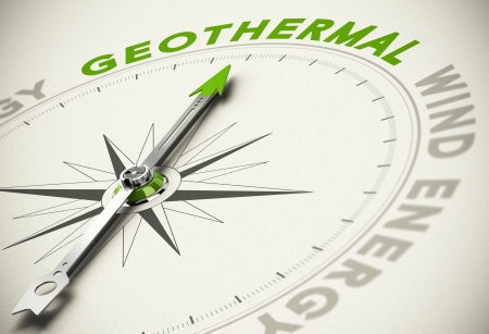 Compass with needle pointing the text GEOTHERMAL - Green and renewable energies concept blur effect with focus on the main word.