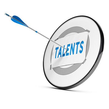 headhunter: One arrow hitting the center of a grey target. A sheet of paper with the word TALENTS is fixed on it. Concept of talents recruitment.    Stock Photo