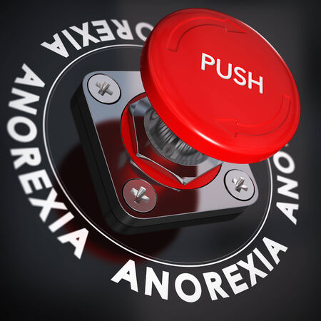 anorexia: Red push button over black background, blur effect. Anorexia nervosa and urgency. Stop eating disorders concept. Stock Photo