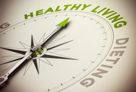 vida: Brújula con aguja apuntando hacia el verde de la palabra principal y el efecto de desenfoque. Concepto de salud que viven frente a la dieta.