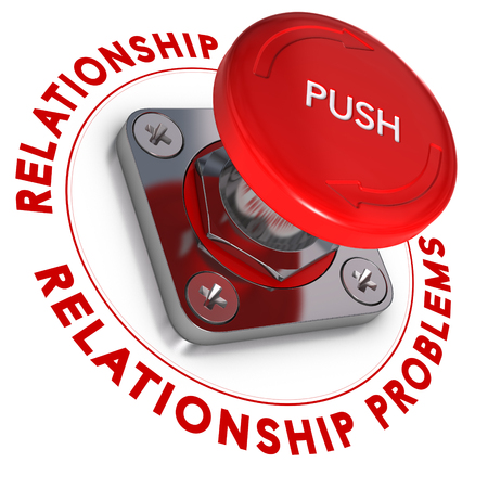 resolving: Red push button over white background. Relationship problems and urgency. Stock Photo