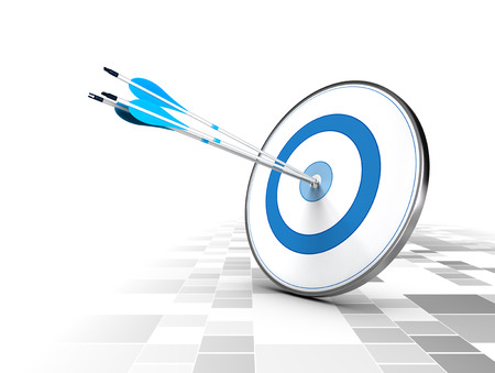 intention: Three arrows in the center of a blue target, modern checker .Image suitable for illustration of strategic business solutions or corporate strategy purpose   Stock Photo
