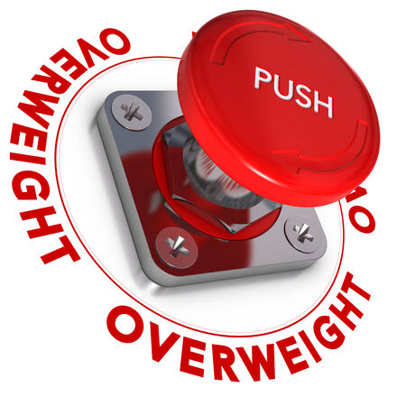 dieting: Emergency button with the word overweight written around it, white and red text  Over-weight concept, and decision making
