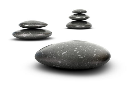 Three stones stacked over white , balancing pebbles  3D render symbol of growth, serenity and harmony  photo