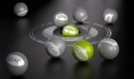 클라이언트 또는 고객으로 리드를 변환 중심의 마케팅 개념 이미지 녹색 공의 중심에있는 대상과 검정을 통해 많은 분야,