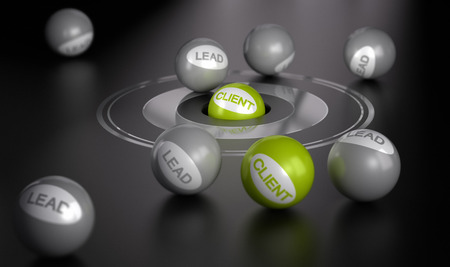lead: Many spheres over black with target in the center on green ball in the center  Marketing concept image, converting leads into client or customers