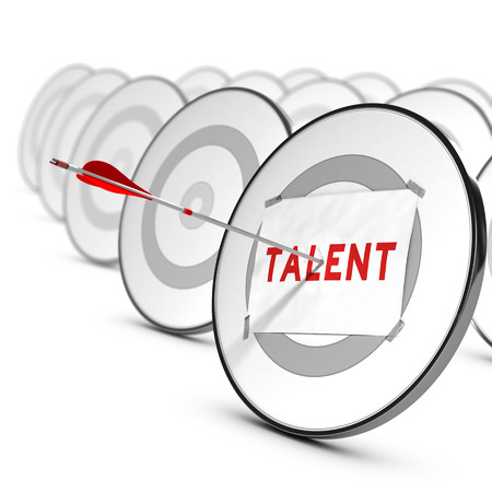 staffing: One arrow hitting the center of a grey target  A sheet of paper with the word TALENTS is fixed on it  Many other targets around the main one  Concept of talents recruitment     Stock Photo