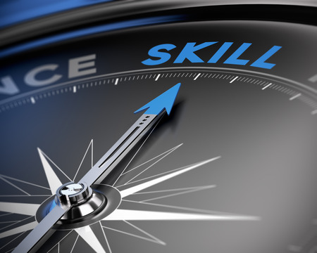 competency: Needle of a compass pointing the word skill, 3D render, concept image for training or proficiency.