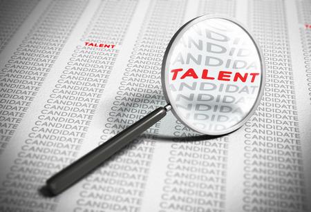 lupa: Lupa con el foco en la palabra talento con muchas palabras candidatas a su alrededor. Efecto borroso concepto de contrataci�n. Foto de archivo