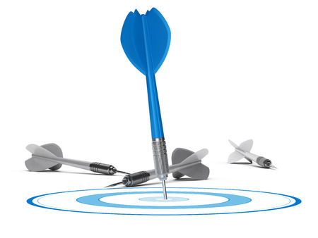 One target and many darts on the floor, one blue dart hits the center of the circle. 3D render concept over white suitable for strategic marketing or competitive advantage.