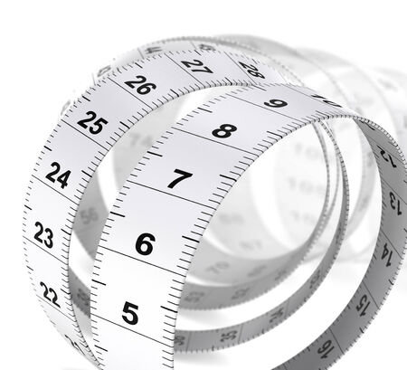 Close up of a tape measure over white , decorative design element for bottom right angle of a page. Dieting or weight care concept. photo