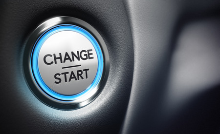 start business: Change start button on a black dashboard background - Conceptual 3D render image with depth of field blur effect dedicated to motivation purpose