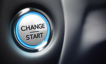 Veranderen start knop op een zwarte dashboard achtergrond - Conceptuele 3D render afbeelding met scherptediepte blur effect gewijd aan motivatie doel