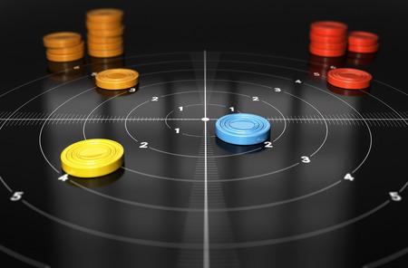 competitividad: Uno de los blancos y muchos peones con diferentes colores, el concepto de objetivos inteligentes y medición del desempeño