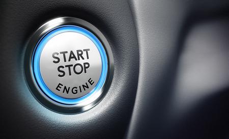 概念的な 3 D のレンダリング イメージ フィールドぼかし効果、イメージの右側にエンジン スタート ボタン テキストのための部屋との深さで、青と