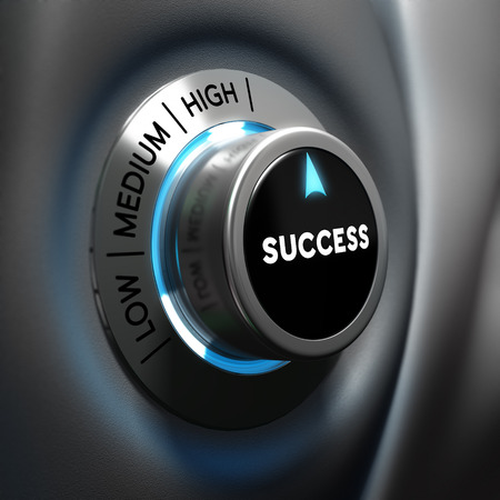 increasing: Success selector button with blue and grey tones  Conceptual 3D render image with depth of field blur effect  Concept suitable for successful business or motivation