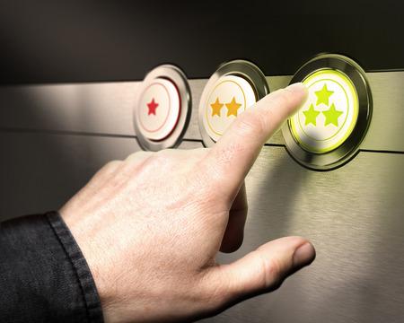 evaluacion: Tres botones de una a 3 estrellas con un dedo presionando el verde s�mbolo de la satisfacci�n del servicio al cliente o la retenci�n de clientes Foto de archivo