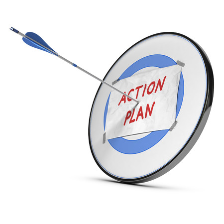 Action plan text handwritten on a sheet of paper fixed onto a blue target  One arrow hits the center of the target  Conceptual image for illustration of set goals and achieved it  illustration