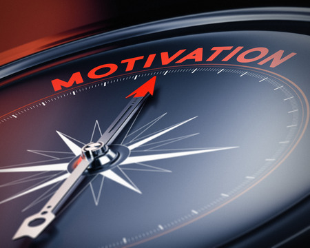 motive: Compass needle pointing the word motivation  Concept image, illustration of motivational quotes  3D render with blur effect