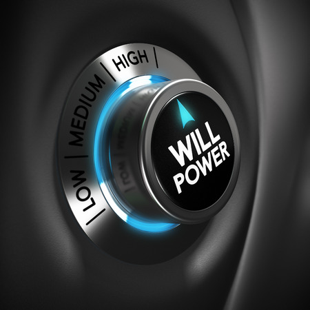 surpass: Will power selector button with blue and grey tones  Conceptual 3D render image with depth of field blur effect  Concept suitable for illustration of successful business or motivation Stock Photo