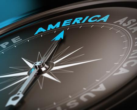 continente americano: Brújula de aguja Resumen señalando el destino américa, los tonos azules y marrones con el foco en la palabra principal. Concepto de imagen adecuada para la ilustración de la consejería viaje. Foto de archivo