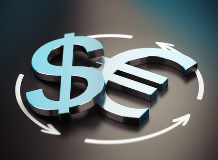 parity: EUR and USD Pair over black background with arrow symbol of exchange
