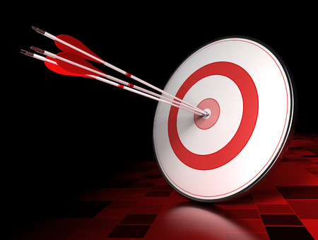 Three arrows hitting the center of a red target over dark tiled background  Illustration of leading concept or success illustration