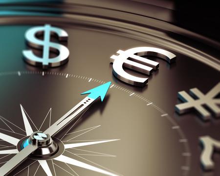 Boussole avec aiguille pointée vers le symbole de l'euro avec effet de flou symbole Illustration de solutions de placement Banque d'images