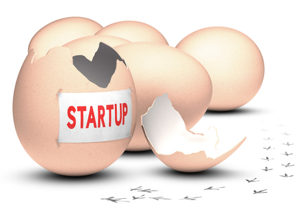 entrepreneurial: Business incubator concept  3D render over white background  Five eggs plus one open, with bird footprint on the floor with the word startup written on a paper