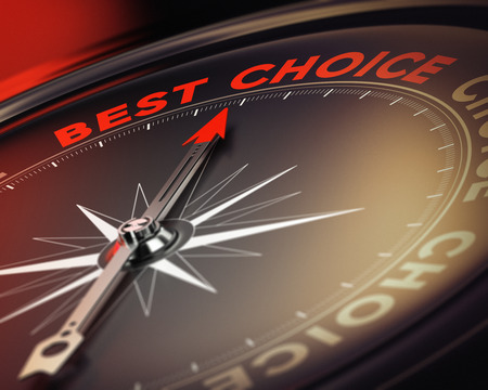 toma de decision: Br�jula con aguja hacia la mejor opci�n de texto, tonos de rojo y negro la imagen conceptual adecuado para la toma de decisiones de la ilustraci�n Foto de archivo