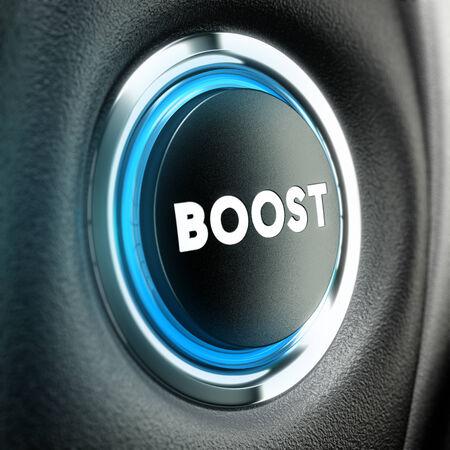 willpower: Tasto Booster sul nero con texture 3D rendering concettuale adatto allo scopo motivazione o la finanza stimolatore