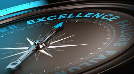 liderazgo empresarial: Brújula con el foco en la palabra excelencia. Concepto de servicio de calidad adecuada para el cartel de motivación o el encabezado de una página web. Los tonos azules y negros