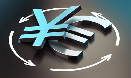 convert: EUR and JPY pair over black background with arrow, symbol of exchange between the two currencies.