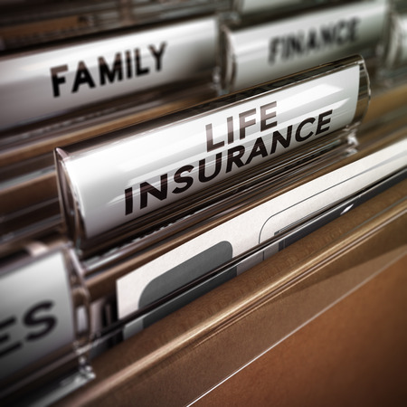 Close up on a file tab with the word life insurance, focus on the main text and blur effect. Concept image for illustration of family protection policy illustration