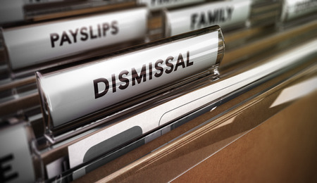 dismissal: Files with focus on the tab dismissal. Concept image for illustration of redundancy plan.   Stock Photo