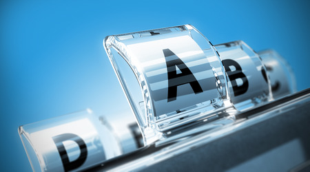 Conceptual 3D render image with focus on the A letter, blur effect. Directory in alphabetical order with blue tones