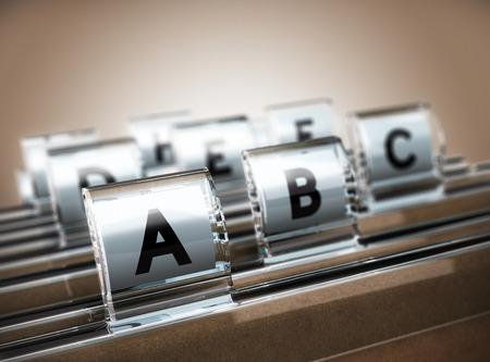 フォルダー タブは A に焦点を当てるとアルファベット順に組織されるベージュ色の背景。顧客データ管理やアドレス一覧のイラストのビジネス コン 写真素材