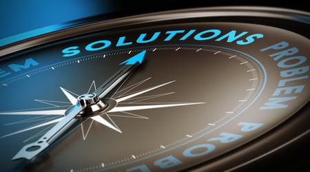 Kompasnaald wijst het woord oplossingen. Donker bruin, blauw en zwarte achtergrond met focus op de belangrijkste woord. Concept 3D-beeld ter illustratie van de zakelijke dienstverlening of advies.