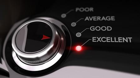 Schakelaarknoop gepositioneerd op het woord uitstekend, zwarte achtergrond en rood licht