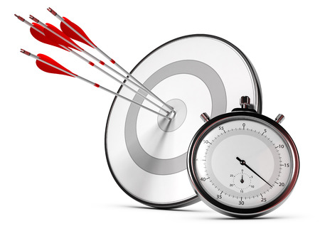 objectives: Four arrows hitting the center of a grey target plus a stopwatch, Illustration of SMART objectives or measurable goals. Stock Photo
