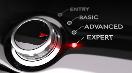 Switch button positioned on the word expert, black background and red light. Conceptual image for illustration of training or expertise level.