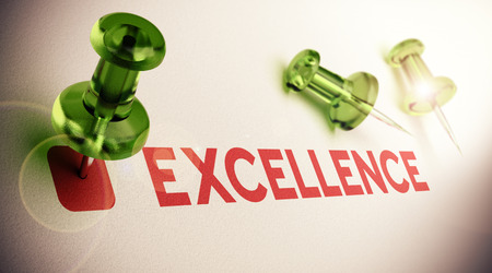 excel: Word Excellence with a green pushpin, light effect and focus on the main thumbtack, paper background  concept of excelling