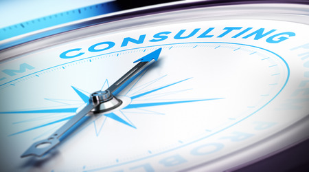 Compass with needle pointing the word consulting, blur effect and blue tones  Concept illustration of consultancy