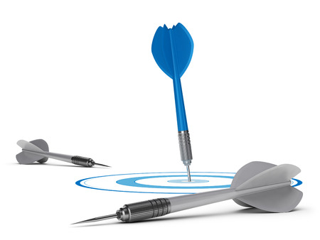self   improvement: One blue dart in the center of a target with grey ones on the floor, self improvement concept Stock Photo