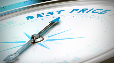 Kompas met naald naar het woord beste prijs Conceptueel beeld 3D geef met scherptediepte blur effect voor de illustratie van de prijzen vergelijken