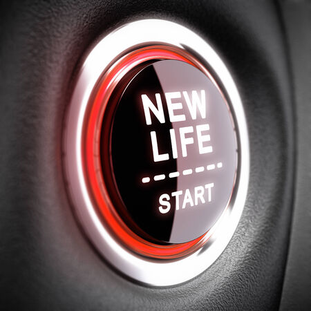 Push button with the text New Life Start  Conceptual 3D render image with blur effect for illustration of changes and attainment of happiness  illustration